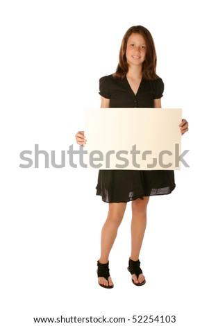 Teen Girl holding a blank board - stock photo