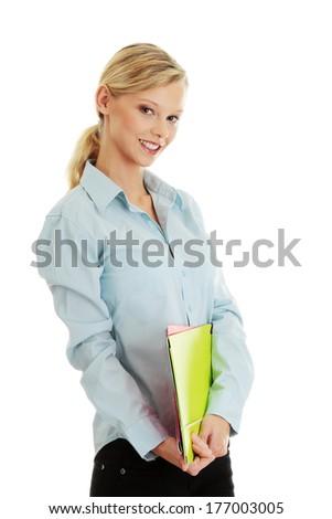 Teen girl isoalated on white background  - stock photo