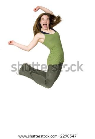 teen girl jumping for joy - stock photo