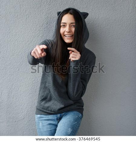 Teen girl mocks of you - stock photo