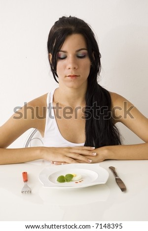 Teen girl on diet - isolated