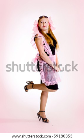 teen girl on pink background - stock photo