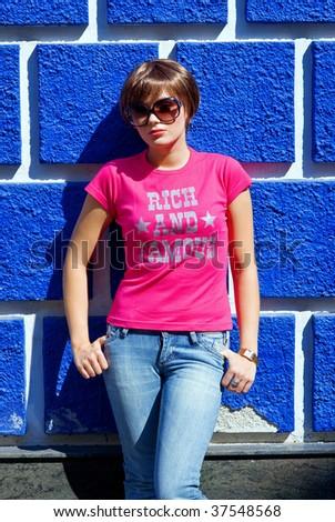 teen girl on the street - stock photo