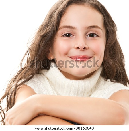 teen girl on white - stock photo
