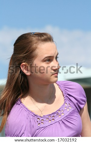 Teen girl outside portrait - stock photo