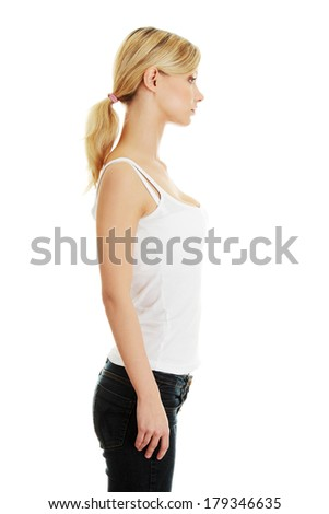 Teen girl portrait, over white background  - stock photo