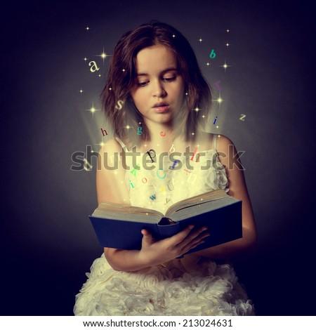 Teen girl reading the Book. Education - stock photo