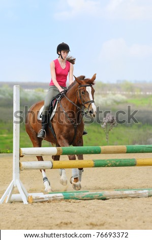 Teen-girl riding a horse