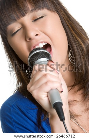 Teen Girl Singing - stock photo