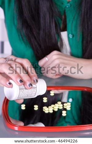 Teen Girl Taking Drugs - Teenage Drug Addiction Problem - stock photo