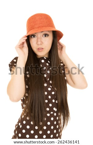 Teen girl wearing polka dot dress portrait - stock photo