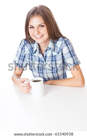 Teen-girl with cup of coffee. Isolated on white