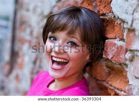 teen girl with happy expression - stock photo