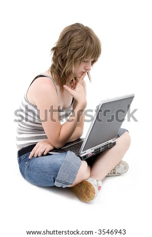 Teen girl with laptop computer