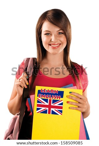 teen girl with learning english language sign - stock photo