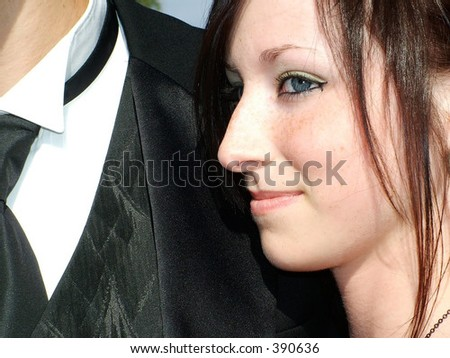 Teen Girl with Male in formalwear - stock photo