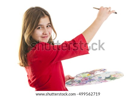 teen girl with paint palette and brush, isolated on white