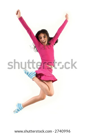 teen jumping high over a white background