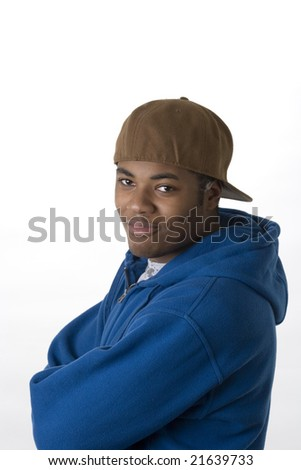 teen portrait on white background - stock photo