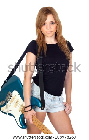 Teen rebellious girl with a electric guitar isolated on a over white background - stock photo
