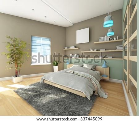 Teen's Bedroom 3d Rendering - stock photo