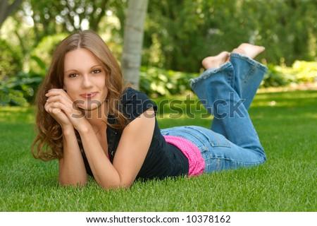 teen senior portrait - stock photo