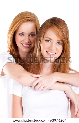 teen sisters portrait on white