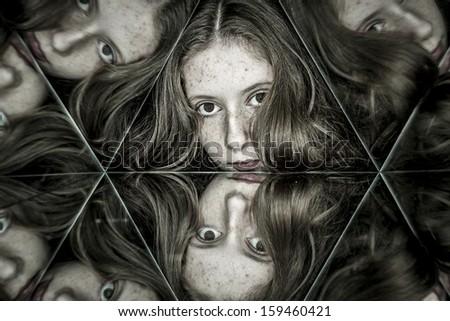 Teen smile, Beautiful girl into kaleidoscope - stock photo