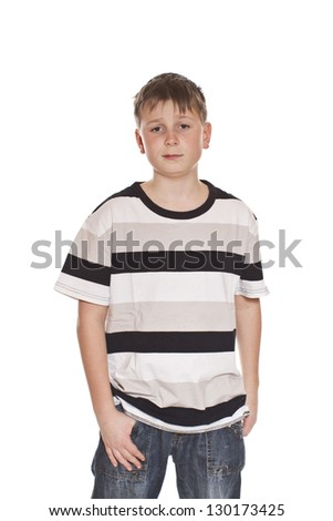 Teen T-shirt and jeans on white background - stock photo