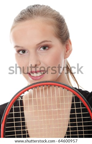 Teen tennis player, isolated on white - stock photo