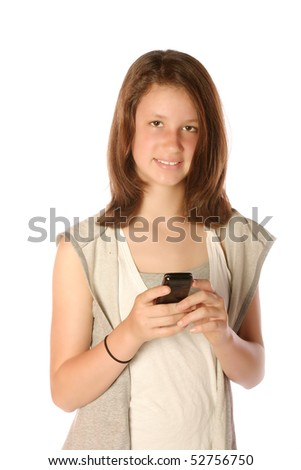 Teen using cell phone