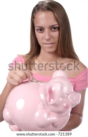 Teen with big pink piggy bank