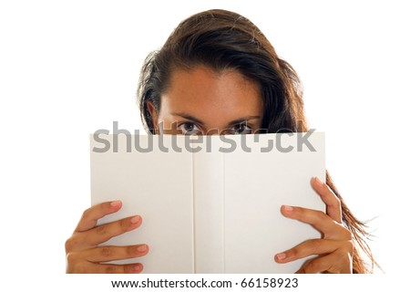 teen with book - stock photo