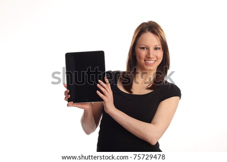 Teen with tablet pc, white background - stock photo