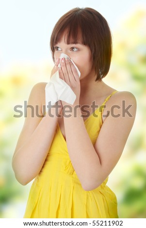 Teen woman with allergy - stock photo
