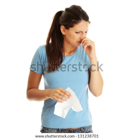 Teen woman with allergy or cold, isolated on white background