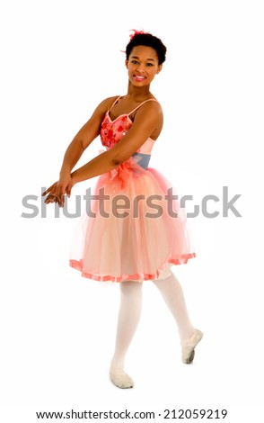Teenage African American Ballet Dancer - stock photo