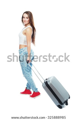 teenage and transportation concept - teen smiling girl with suitcase