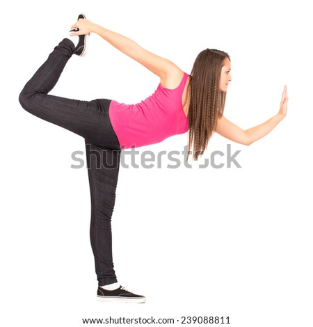 Teenage Attractive Girl In Pink Shirt Perform Stretching Sport Pose - stock photo