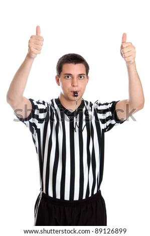 Teenage basketball referee giving sign for jump ball - stock photo