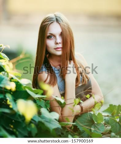 Teenage  beautiful girl. Outside portrait. - stock photo