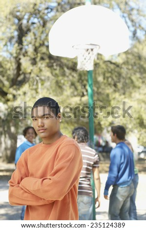 Teenage Boy and Friends - stock photo