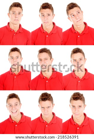teenage boy doing facial expressions isolated in white - stock photo