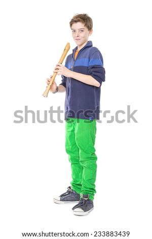 teenage boy holding a flute, isolated on white - stock photo