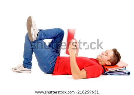 teenage boy holding books isolated in white - stock photo