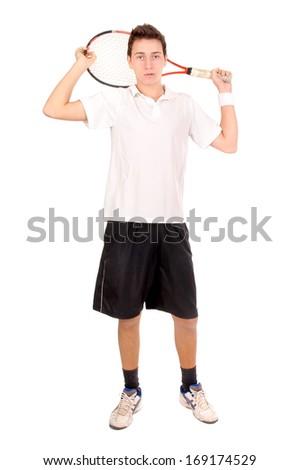 teenage boy holding tennis racket - stock photo