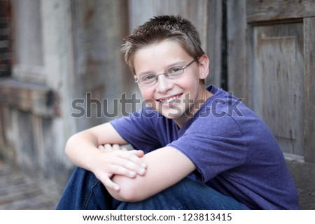 Teenage Boy in Alley - stock photo