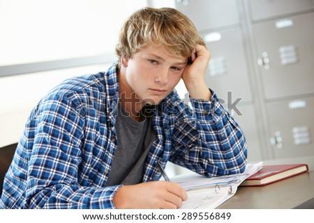Teenage boy in class - stock photo