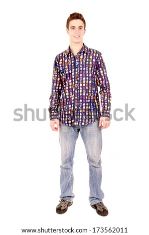 teenage boy isolated in white