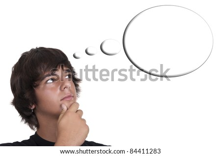 teenage boy thinking isolated on white background - stock photo